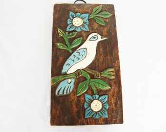vintage mexican carved wood picture folk art bird bas relief wall plaque