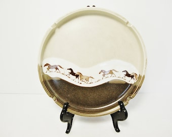 vintage wild horses ashtray Otagiri of japan shallow ash tray
