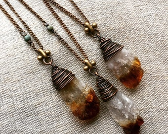 Raw Citrine Necklace Wire Wrap Crystal Necklace Raw Gemstone Necklace Crystal Pendant Necklace DanielleRoseBean Raw Crystal Necklace