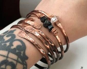 Ombre Copper Bangle Bracelet Set Copper Bangles Raw Gemstone Bracelets Rustic Jewelry DanielleRoseBean Bangle Bracelets Stacked Bracelets