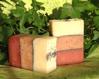 English Rose Soap, 5 to 6 ounce bars, layered soap enriched with jojoba oil and shea butter