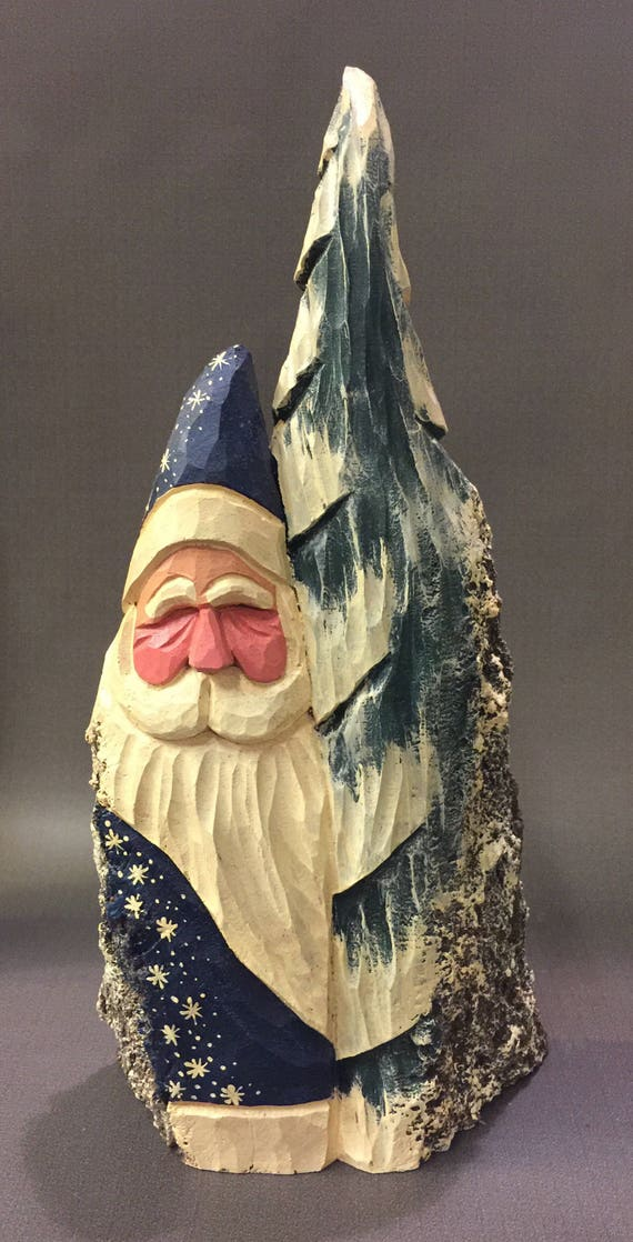HAND CARVED original starry night blue Santa with tree from 100 year old Cottonwood Bark.