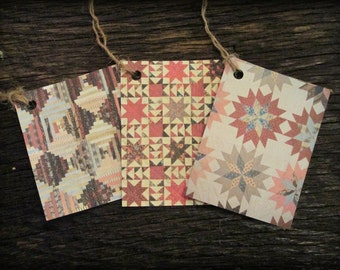 Antique Quilt Hang Tags Set of 6 Primitive (#1) FREE SHIPPING
