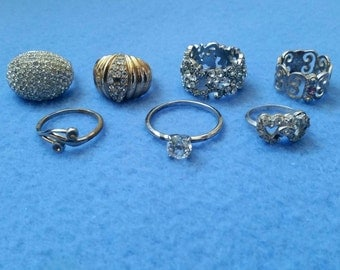 Rhinestone Repair Ring Lot 7 Rings, vintage and modern assortment, signed and unsigned, no. 2