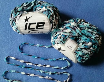 Linen Blendy - Turquoise, Lilac, and Black Variegated Multi-strand Yarn by Ice Yarns, two skeins pompom butterfly novelty yarn