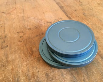 Three 8mm Movie Metal Film Canisters - 6 Inch Diameter