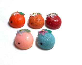 Five  Vintage Plastic Realistic Buttons - Oranges With Hand Painted Features