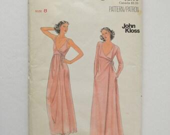 1970s Vintage UNCUT Butterick John Kloss Sewing Pattern 5705 Sleeveless Stretch Knit Front Wrap Dress, V Neck, Long Sleeve Robe Size 8