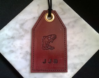 Monogrammed - Vertical Leather Luggage Tag With Your Choice of 3D Stamp