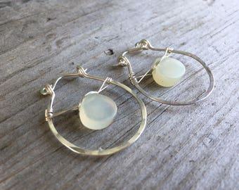 Recycled Sterling Silver - Chalcedondy - 1in Hoops