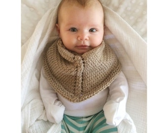 Baby Knit Scarf | Rustic Brown Chunky Knit Infant Winter Bandana Scarf | Soft Wool Neutral Kerchief