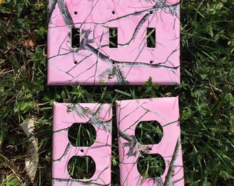 Pink Camo Hunting Deer Switchplate Outlet Double Triple Quad Rocker Blank Cable Dimmer
