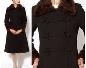 Vintage 1950s Long Slim Fitted Brown Swedish Princess Dress Coat with Fur Collar and Decorative Crocheted Buttons | Small/Medium