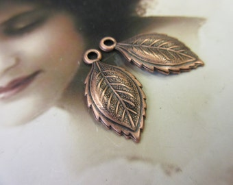 Copper Ox Plated Brass Leaf Stampings 1200COP x2