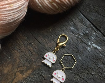 Pink Squid Knitting Stitch Marker / Progress Keeper