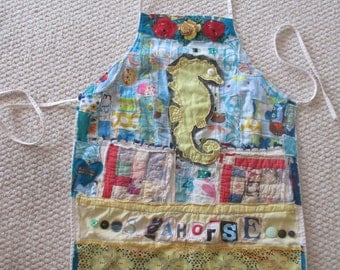 SEAHORSE APRON Wearable Collage Folk Art Clothing -  Vintage Recycled  Linens - Beach Cottage Chic + bonny gorsuch random scraps of fabric