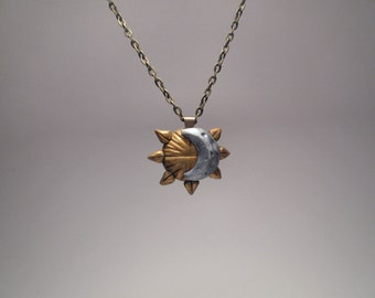 Sun and Moon Necklace - Celestial Jewelry - Polymer Clay Jewelry