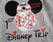 1st Disney Trip BB8 Embroidered Short Sleeve Shirt 2017