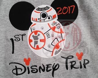 1st Disney Trip BB8 Embroidered Short Sleeve Shirt 2017