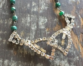 Vintage Rosary Inspired Reclaimed Upcycled Rhinestone Necklace on Sterling with green aventurine stones, Gifts under 65, Gifts for Her