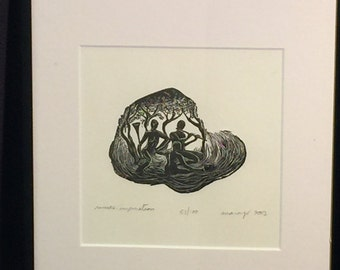 FRAMED 8X10 Wood Engraving Inspiration Unique Figures Greek Muses Playing Music