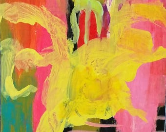 Modern Yellow, Aqua, Pink, black, abstract, expressionism, turquoise,
