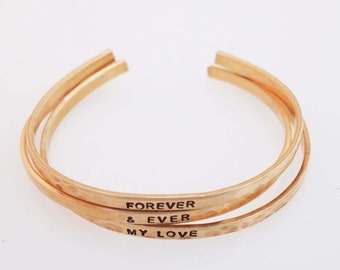 Bronze Anniversary Bracelets, Hammered Bronze Cuffs, Forever and Ever, Personalized Cuff, 8 Year Anniversary Gift
