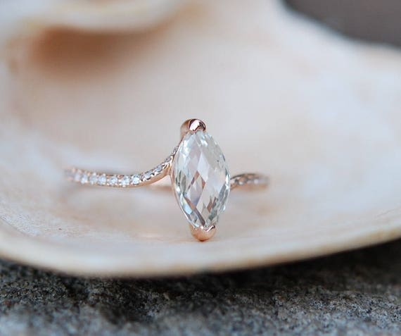 Unconventional engagement ring. Marquise engagement ring. Rose gold diamond ring engagement ring with 1.5ct white sapphire full eternity