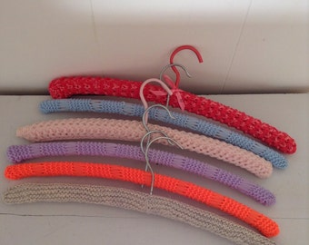 Pretty Vintage Retro set of Crochetted and Knitted Hangers Mauve Pink and Blue
