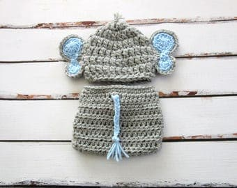 Baby Boy Elephant Set, Baby Elephant Costume, Baby Elephant Hat, Baby Boy Hat, Baby Diaper Cover Set, Newborn Elephant Hat, Baby Hat, Blue