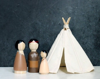 Native American Wooden Peg Dolls and Miniature Teepee // wooden dolls peg dolls dollhouse teepee miniature teepee