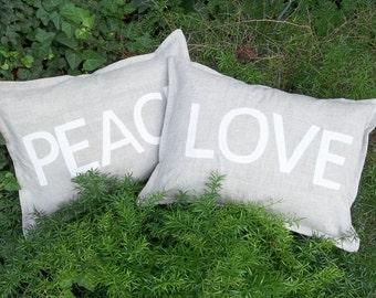 LOVE Pillow PEACE Pillow Custom Linen Pillows  Valentine Decor Natural Linen Pillows Lumbar Pillows Decorative Pillows SoldSeparately