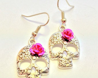 Silver Sugar Skull Earrings Pink Rose Day of the Dead Earrings