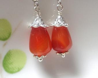Carnelian Earrings, Orange Earrings, Orange Drop Earrings, Gemstone earrings, Stone Earrings, Dangle Earrings