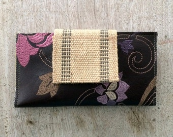 Vegan Leather Swatch Wallet (long, w/zip pocket), Checkbook Cover, iPhone Case, Card Holder, handmade in Maine