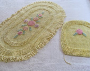 Vintage Cotton Chenille Rug Mat Bath and Toilet Lid Cover - Yellow Pink Floral - Shabby Cottage Chic