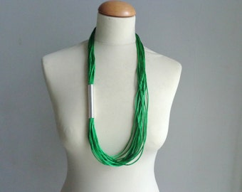 Green silver tube necklace, long green necklace