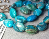Crazy Blue Lace Agate GORGEOUS Smooth 13 x 18mm Oval Stones AND Sterling Hill Tribe Toggle Clasp and Hill Tribe Spacers For Bracelet