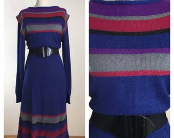 80s Just-mort Cobalt Blue Striped Long Sleeve Maxi Sweater Dress, Large