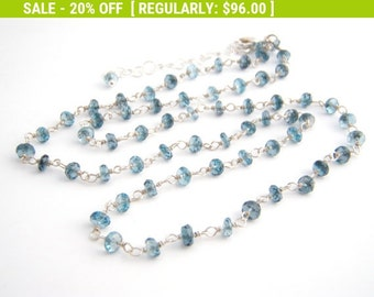 20% Off Sale London Blue Topaz Necklace, Rosary Style, Ocean Blue, Sterling Silver, November Birthstone
