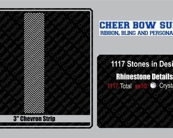 "3"" Cheer Bow Chevron Rhinestone Strip 3"" X 13"" INSTANT FILE DOWNLOAD"