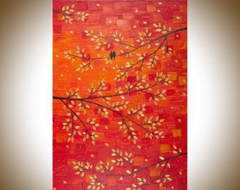 """Contemporary wall art colorful art red gold leaves tree love birds art wall decor Palette Knife Canvas art """"Autumn Romance""""by qiqigallery"""
