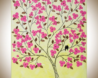 """Easter Love Birds pink flowers wall art wall decor Wall Hangings pink gold yellow original painting """"Blossom in Spring"""" by qiqigallery"""