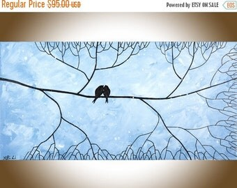 love birds Art original painting acrylic painting blue grey wall art wall decor Wall Hangings Valentine's Day gift by qiqigallery