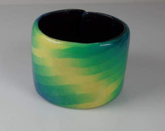 Polymer clay cuff bracelet, adjustable, blue, yellow, green