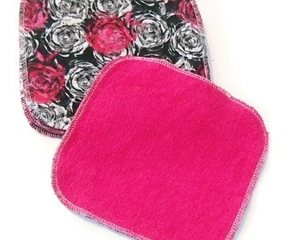 8 by 8 inch Serged Cloth Wipes/Washcloths - Hot Pink Roses - Flannel/Baby Terry- set of 5 with hot pink Terrycloth