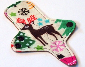 Christmas ULTRATHIN Reusable Thongliner Cotton Flannel Mini Pad with wings for Every Day - Washable Cotton Flannel -  Christmas Reindeer