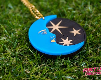 Celestial Moon and Stars Necklace - laser cut acrylic and bamboo jewellery