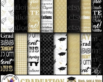 Graduation Papers set 1 Black & Gold - 16 digital files and one Graduate Owl png file Caps and Degrees Congrats (Instant Download)