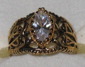Vintage Crystal Filigree Ring